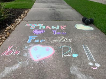 RRRTX Residential Recycling and Refuse of Texas worker appreciation drawn in chalk saying Thank you for all you do