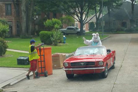 RRRTX Residential Recycling and Refuse of Texas worker appreciation Easter bunny driving down the road