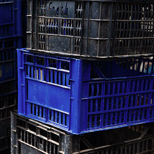 Blue and Black stacked Plastic Crates